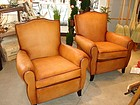 Vintage French Leather Club Chairs - Petite Moustache