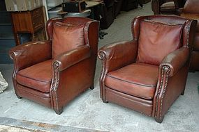 Vintage French Club Chairs Rue de Rivoli Wingback Pair