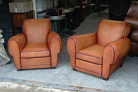 Vintage French Leather Club Chairs Crocodile Rollbacks