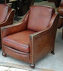Vintage French Leather Club Chair Trocadero Swoop