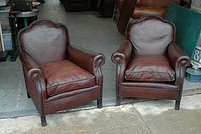 Vintage French Club Chairs Treffle L'Isle Adam Pair