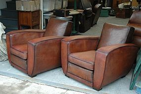 Vintage French Club Chairs St. Tropez Deco Square Pair