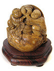 Chinese Carved Soapstone of Two Children