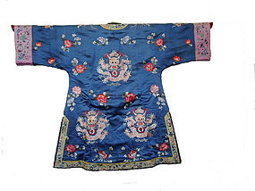 Chinese Antique Ladies Blue Dragon Coat