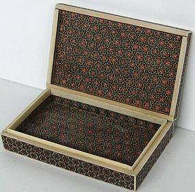 Persian Inlaid Mosaic Box with 6 Point Star Pattern