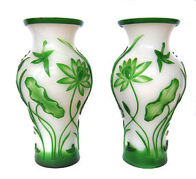 Antique Chinese Peking Glass Vases