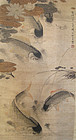 Korean Antique Carp Scroll by Li Fang Yin