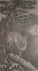 Antique Chinese Scroll of Deer with Fungus