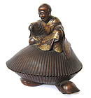 Japanese Box Wood Monk on Shell with Maki-e Lacquer