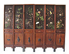 Antique Chinese Six Panel Screen