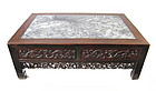 Chinese Antique Low Carved Hardwood Table with Marble