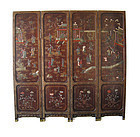 Chinese Antique 4 panel Coromandel Screen