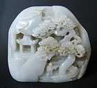 Chinese White Jade Boulder Carved with Mountain Scene