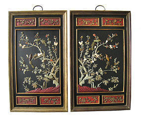Chinese Pair of Hard Stone Inlaid Plaques