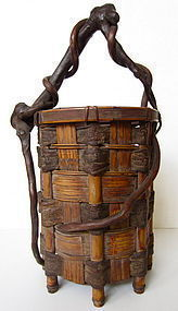 Japanese Beautiful Ikebana Basket with Bark and Bamboo