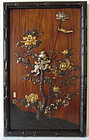 Japanese Antique Wooden Plaque with Mixed Metal Monkeys