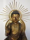 Japanese Antique Seated Gilt Amida Buddha