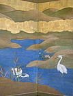 Japanese Antique Pair 6-Panel Screen with Bird Scenes