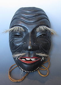 Japanese Antique Kagura or Kyogen Mask of a Sage