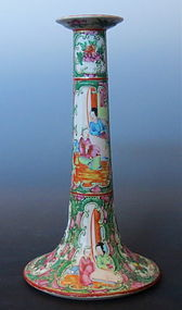 Antique Chinese Rose Canton Candle Stick
