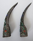 Chinese Antique Pair of Silver and Enamel Nail Guards