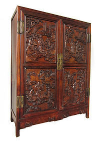 Chinese Antique Carved Hongmu Wood Cabinet