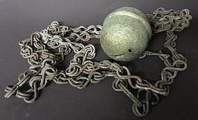 Japanese Antique Very Long Chain and Temple Bell