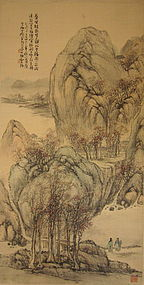 Japanese Literati Landscape Scroll by Okuhara Seikou