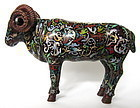 Chinese 19th c.  Copper Repousse and Cloisonne Sheep