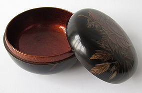 Japanese Lacquered Food Container with Makie