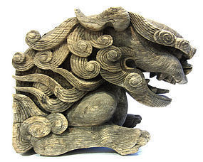 Large Keyaki Wood Fu-Dog Temple Carving