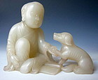 Chinese White Jade Carving of Seated Monk and Dog