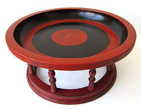 Burmese Red and Black Laquer Wood Offering Tray Kalat