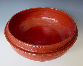 Antique Burmese Red Laquer Bamboo Basket