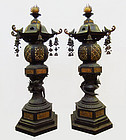 Pair of Antique Japanese Bronze Temple Lanterns