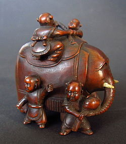 Japanese Antique Okimono of Children and Elephant