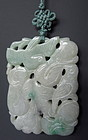Chinese Small Jadeite Plaque of Birds with Melons