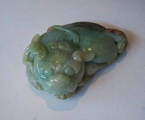Chinese Jade Carving of Pixiu Holding a Coin