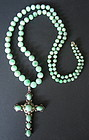 Chinese Antique Jade Bead Necklace with Cross