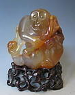 Chinese Carved Agate Monkey and Baby with Peaches