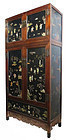 Tall Two Section Chinese Hardwood Cabinet with Inlay