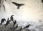 Japanese Antique Screen Painting of Crows, Aizu Katsumi