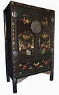 Chinese Antique Black Lacquer Cabinet with Painting
