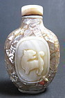 Antique Chinese Mother Of Pearl Snuff Bottle