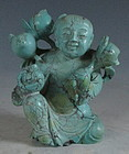 Chinese Turquoise Figure of Boy