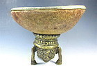 Antique Tibetan Kapala With Stand