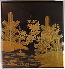 Japanese Antique Lacquer Suzuribako with Pines