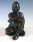 Antique Chinese Bronze Figure Of A Monk