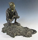 Japanese Antique Bronze Fisherman and Ancient Tortoise