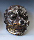Large Japanese Silver and Gold Lacquer Gigaku Mask
